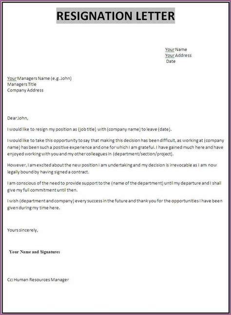 Sle Resignation Letter It Professional by Professional Resignation Letter Designproposalexle