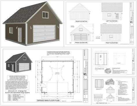 garage floor plans free g514 24 x 24 x 9 loft garage plans in pdf and dwg shops