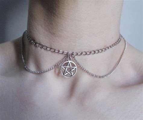 pentagram chain choker pentacle necklace pastel