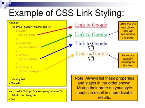 css visited link color ppt css link styling powerpoint presentation id 6830748
