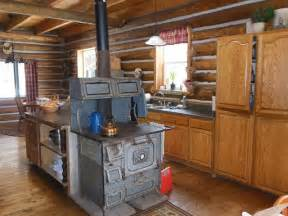 Log Cabin Wood Stove by Log Cabin Kitchen With Wood Cook Stove Log Cabin
