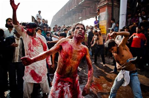 shia muslims flagellate themselves during the festival of