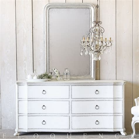White And Silver Dresser by Eloquence 174 Bordeaux Dresser In Silver Antique White Two