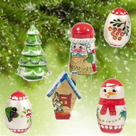 painted christmas ornaments set russian christmas