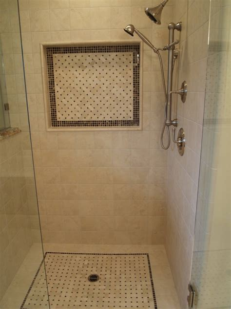 bathroom wall niche shower with floor and wall niche mosaics traditional