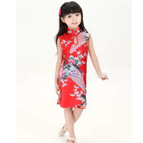 Sale Cheongsam Imlek Dress russia sale kid child peacock cheongsam dress qipao clothes silk clothing