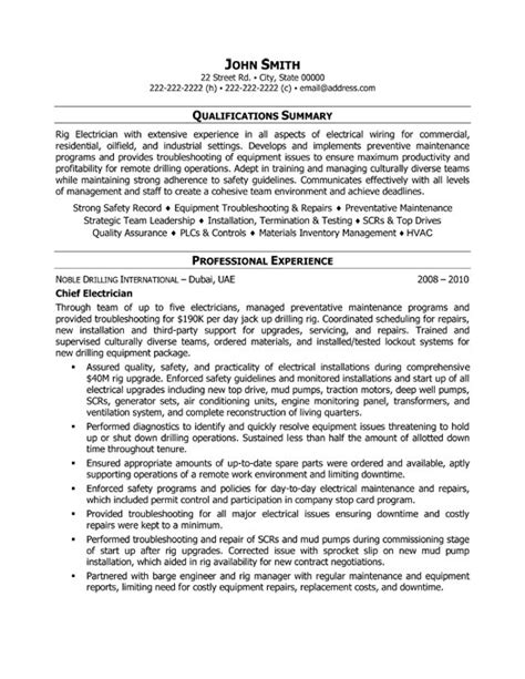 Exles Of Electrician Resumes by Chief Electrician Resume Template Premium Resume Sles Exle