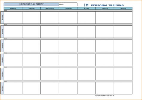 workout calendar template free calendar template