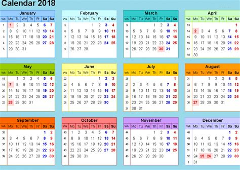 Excel 2018 Calendar Template 2018 Yearly Calendar Template Excel