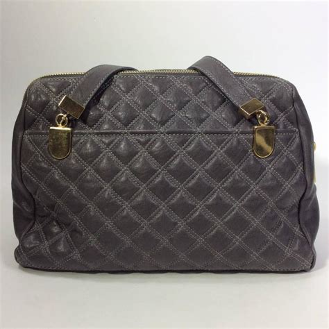 marc grey quilted leather handbag at 1stdibs