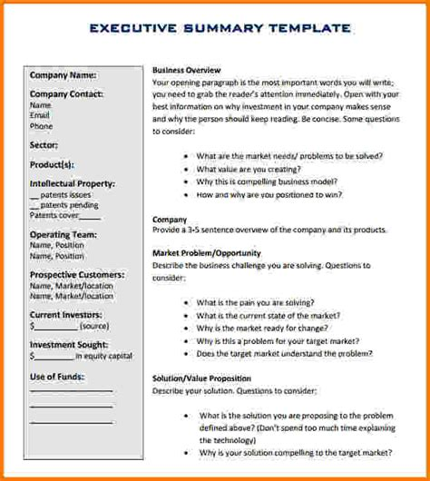 insurance summary template executive report