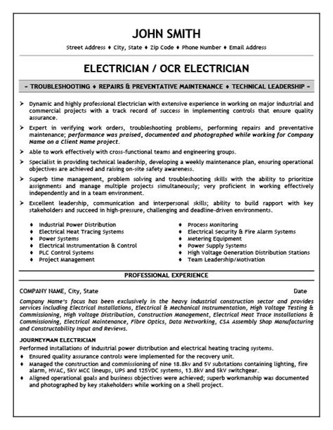 sle resumes for journeyman electricians resume sle for electrician industrial electrician resume