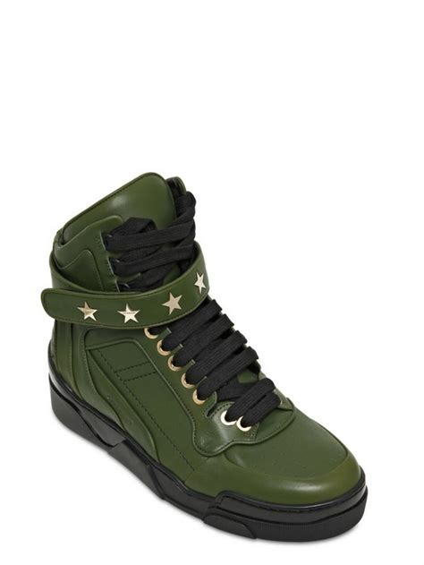 Givenchy Arielle Studded1660 lyst givenchy studded leather high top sneakers in green