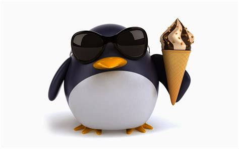 Witte Achtergrond Met 3d Pingun Met Zonnebril En Een Ijsje   windows 7 winter wallpaper apexwallpapers com