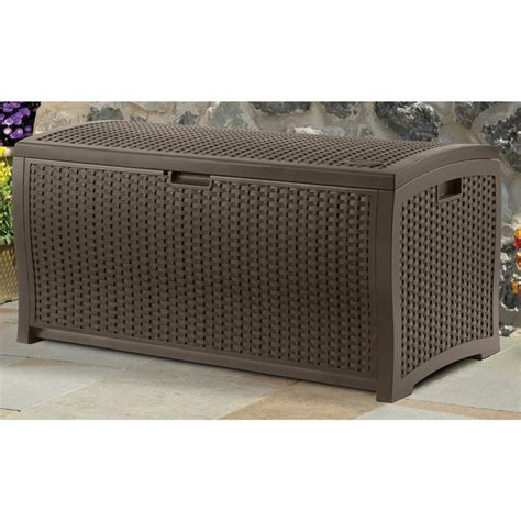 suncast 99 gallon mocha wicker resin deck box outdoor