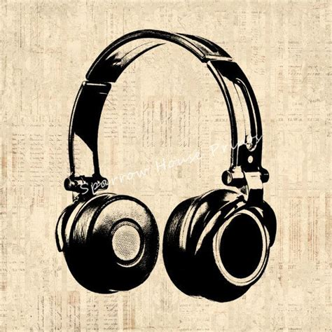 headphones vintage print music wall art antique headphones