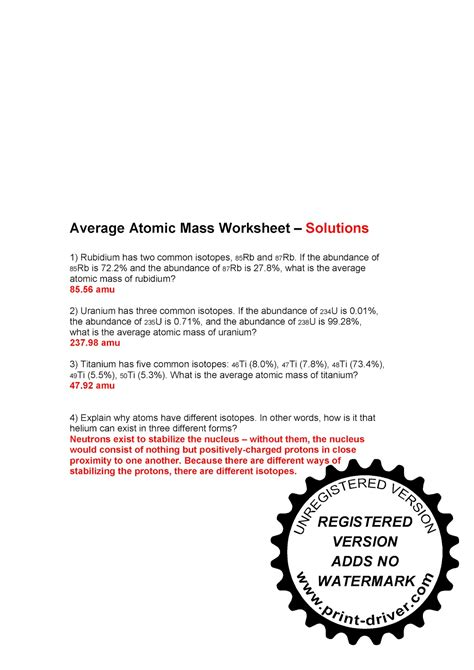 Average Atomic Mass Worksheet Answers by Mr Zehner S Chemistry Class November 2010