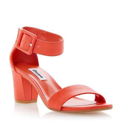 orange sandals shoes dune orange buckled ankle block heel sandal