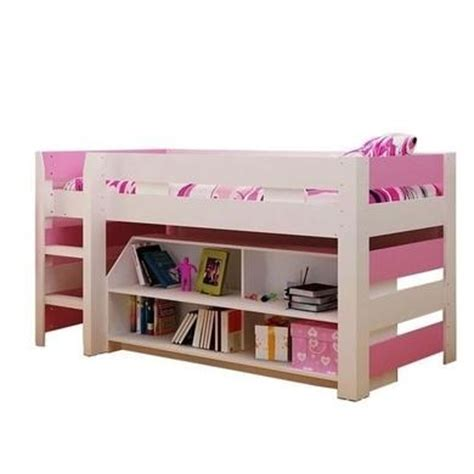Pink Mid Sleeper Bed by Seconique Lollipop Mid Sleeper Bed In White And Pink