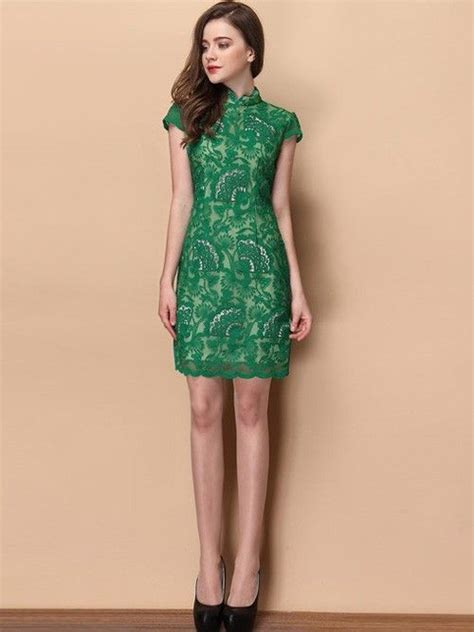 Lace Qipao green floral lace qipao cheongsam dress qipao