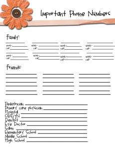 important numbers template sustainably chic designs organization home management