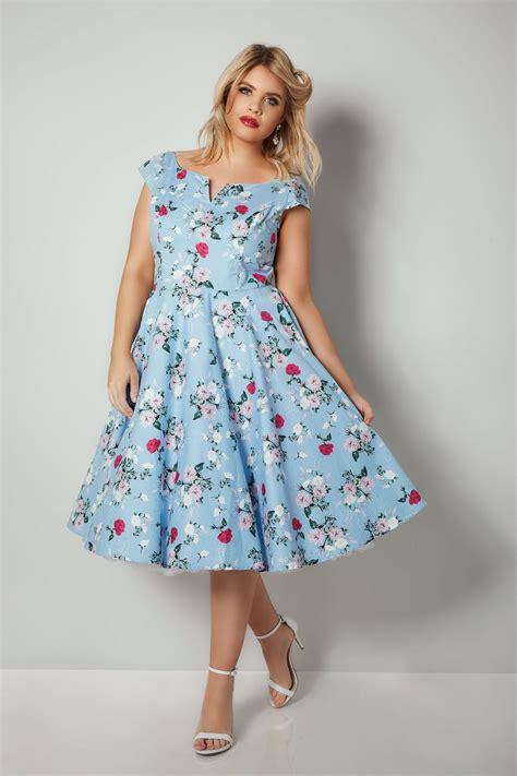 light blue midi hell bunny light blue floral print belina midi dress plus