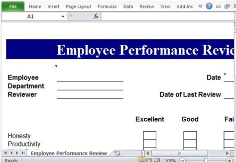 Performance Review Template For Microsoft Excel Performance Template Excel