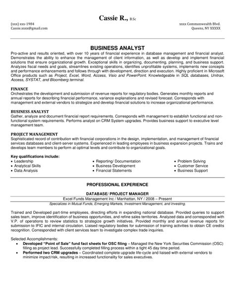 sle of business analyst resume financial services resume sle