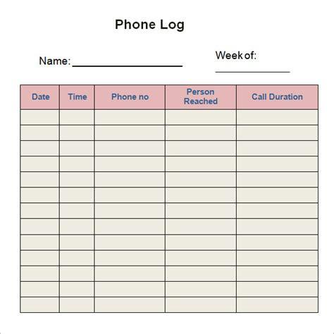 phone log template 8 free pdf doc