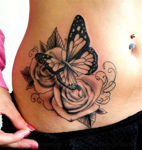 black rose and butterfly tattoo ronmileyink by black and grey roses side