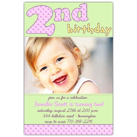 2nd birthday pink invitations paperstyle