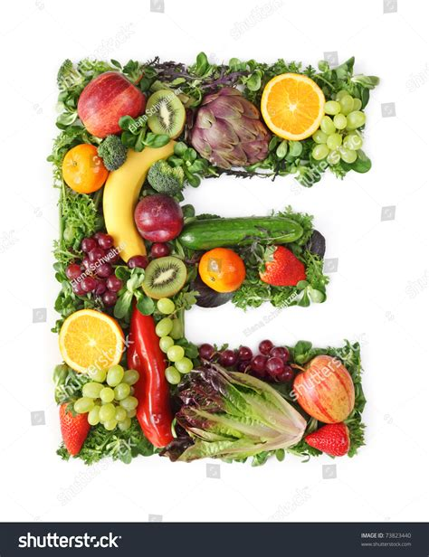 e fruits and vegetables fruit vegetable alphabet letter e stock photo 73823440