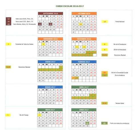 Calendario 2017 Puentes Calendario Escolar 2016 2017 En Ja 233 N Fiestas Puentes Y