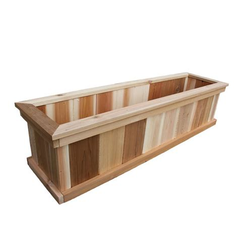 home depot wooden planters aim cedar works premium cedar planter box 8 x 12 x 48 the home depot canada