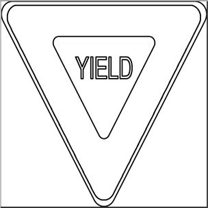 yield sign color clip yield sign b w i abcteach abcteach