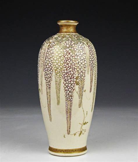 Japanese Pottery Vases by Antique Japanese Satsuma Pottery Vase W Wisteria