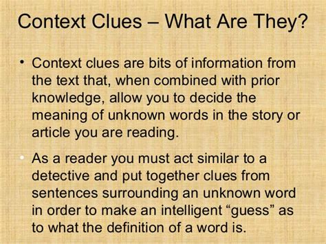 what is the meaning of template types of context clues