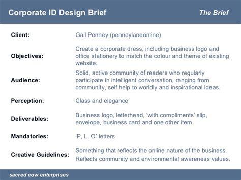 design brief guidelines presentation corporate id design brief penneylaneonline
