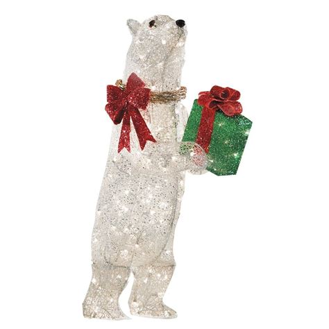 holiday specs 42 in lighted mesh polar bear outdoor