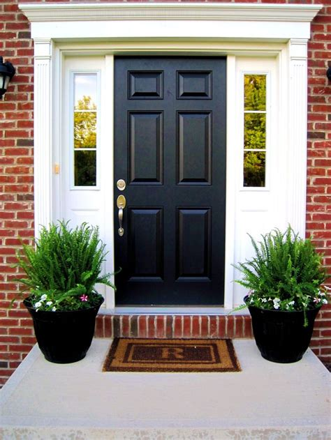 Front Porch Doors Valspar Kettle Black Future Home Planters Front Stoop And Front Porches