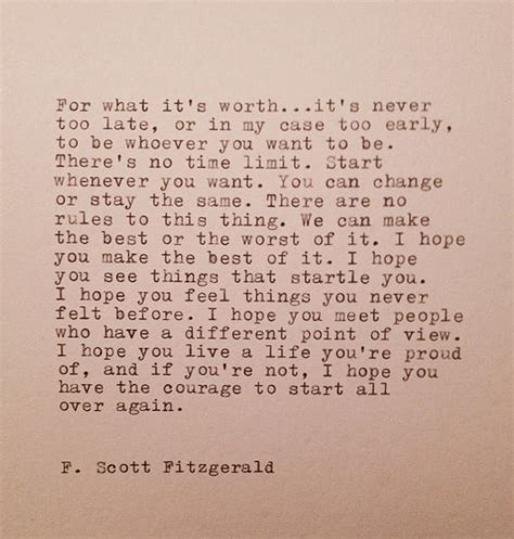 never late from wannabe to at 62 books f fitzgerald typed quote made on typewriter