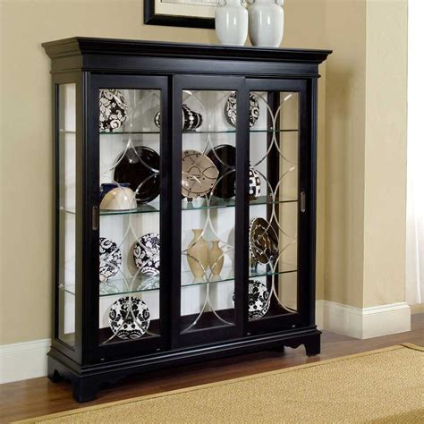 curio with light pin curio display case with black wood mirror back