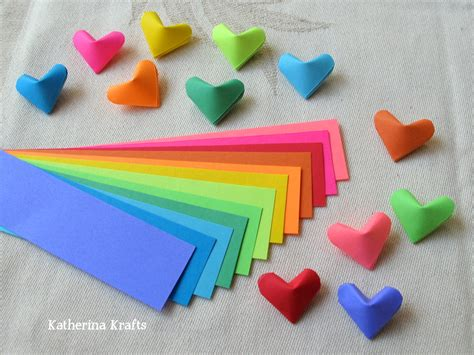 Fold Paper Hearts - katherina krafts on how to fold origami hearts