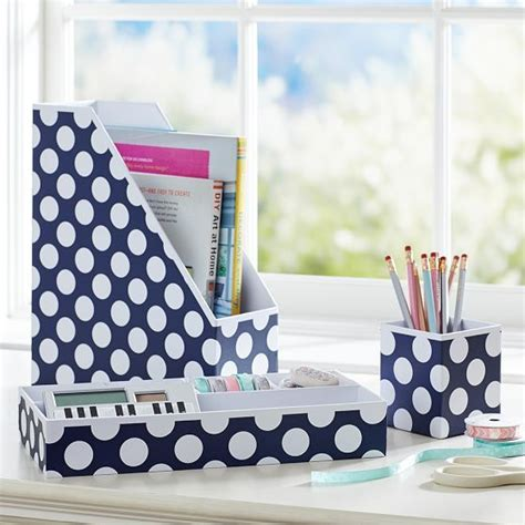 polka dot desk accessories paper desk supplies and office supplies on