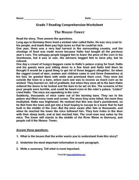 for 7th grade reading worksheets seventh grade reading worksheets
