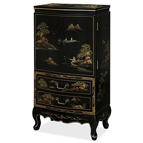chinese jewelry armoire hand painted chinese design theme black wall standing