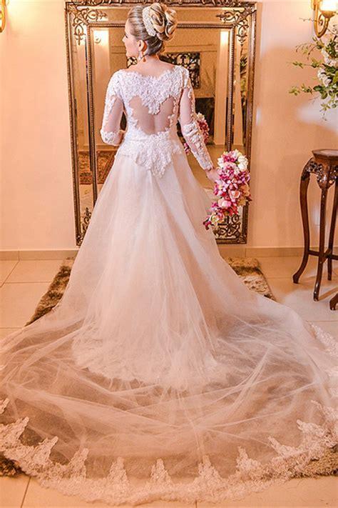 Elegant Lace Plus Size Wedding Dress 2018 Long Sleeve A
