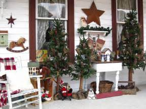 front porch christmas trees suesjunktreasures rustic country christmas on my front