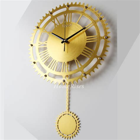 gear wall clock creative mechanical goldsilver large
