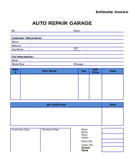 7 Auto Repair Invoice Templates Free Sle Exle Format Download Sle Templates Auto Shop Invoice Template